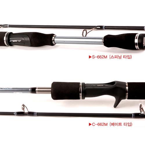 싸파 미라클-X MIRACLE-X VIPER 루어대 S-662M(스피닝타입)과 C-662M(베이트타입)중 선택구매